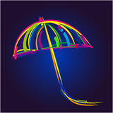 Flying umbrella on blue background. Flying umbrella in front of blue background Royalty Free Stock Photo