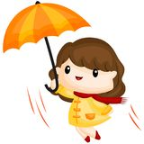Flying with umbrella. A girl flying with her umbrella vector illustration