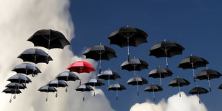 Flying umbrellas Royalty Free Stock Photos