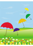 Flying umbrellas. On the spring backgrounds Royalty Free Stock Image