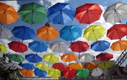 Flying Umbrellas Alley Stock Image
