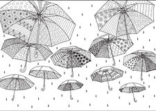 Flying umbrellas. For background,illustration,card, adult or kids coloring book page. Vector illustration Royalty Free Stock Photos