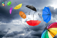 Flying umbrellas Royalty Free Stock Photography