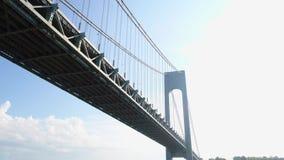 Flying under the Verrazano Bridge New York. Drone under the verrazano Bridge NY stock video footage