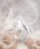 Flying Unicorn. A white unicorn flying through a fantasy landscape! Stars are shining and and the landscape is bedded with roses Stock Image