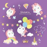 Flying Unicorn Fantasy In The Purple Sky vector illustration