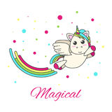 Flying unicorn with a rainbow and stars Stock Photo