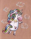 Flying unicorn. Raster postcard-illustration Royalty Free Stock Photos