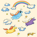 Flying unicorns and rainbow Stock Photography