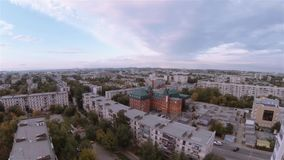 Flying up above city in Russia. Flying up above the Chelyabinsk in Russia stock video