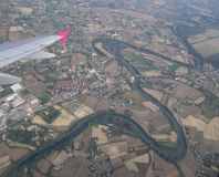 Flying up to Venice. View from airplane flies to Venice Royalty Free Stock Photography