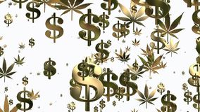 Flying USA dollar signs and cannabis leafs