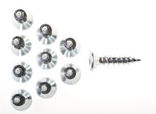 Flying V. Screws arranged in a V formation, ready for action Royalty Free Stock Photography