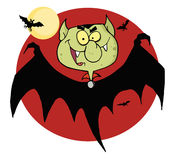 Flying vampire by bats and a full moon Stock Image