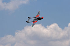 FLYING VAMPIRE JET IN A BANK Stock Photography