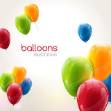 Flying vector festive balloons shiny with glossy balloons for holiday Royalty Free Stock Photo