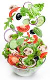 Flying vegetables - salad ingredients. Stock Images