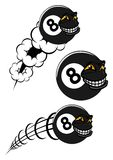 Flying victorious number 8 billiard ball icons. Victorious number 8 billiard ball icons flying with a grinning faces, two speeding through the air with motion Royalty Free Stock Images