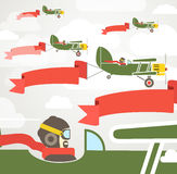 Flying vintage group of planes. With banners. Template for a text Royalty Free Stock Photos