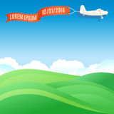 Flying vintage plane with banner and green grassy hills. Vector. Illustration, template for text or infographics Stock Images