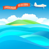 Flying vintage plane with banner and ocean, sea landscape. Royalty Free Stock Image