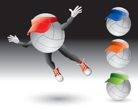 Flying volleyball cartoon character with visor Royalty Free Stock Image