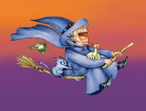Flying and wacky witch Royalty Free Stock Photos