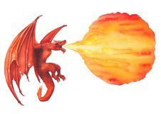 Flying watercolor dragon in red colors exhales the flame of fire. Flying watercolor dragon exhales the flame of fire. Side view. Hand painted isolated vector illustration