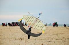 Flying Wau Bulan in Kelantan Royalty Free Stock Photography