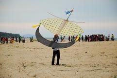 Flying Wau Bulan in Kelantan Royalty Free Stock Photo