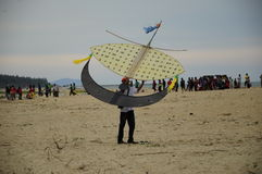 Flying Wau Bulan in Kelantan Royalty Free Stock Images