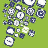 Flying web graphic interface icons Stock Photo