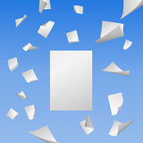 Flying white blank sheets of paper Stock Photo