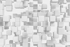 Flying white cubes abstract 3d background. Abstract white graphic background made of flying white cubes in front view, 3d illustration for different conceptual Stock Images