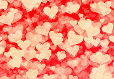 Flying white grainy hearts on red backgrounds Stock Photos
