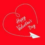 Flying white paper plane. Dashed heart in the sky. Happy Valentines Day Greeting card. Flat design. Red background. . Royalty Free Stock Image