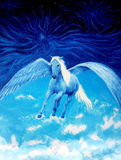 Flying white pegasus horse high up in the skies, beautiful detailed oil painting on canvas. Royalty Free Stock Images
