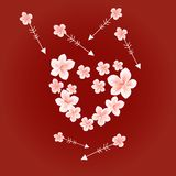 Flying White Pink flowers on dark Red background. Apple-tree flowers. Heart and arrows. Cherry blossom. Vector.  vector illustration