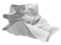 Flying white silk fabric with folds Royalty Free Stock Photography