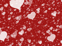 Flying white transparent hearts on red backgrounds Royalty Free Stock Images