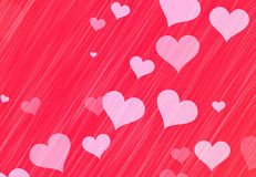 Flying white transparent hearts on red backgrounds. Love texture Stock Photos