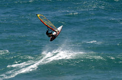 Flying Windsurfer Windsurfing in Hawaii Stock Photography