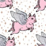 Flying winged pig seamless pattern. Colorful vibrant repetition background artwork of a piglet in starry sky, fantastic animal. Isolated vector illustration Royalty Free Stock Photo