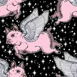 Flying winged pig seamless pattern. Colorful vibrant repetition background artwork of a piglet in starry sky, fantastic animal. Isolated vector illustration Royalty Free Stock Photos