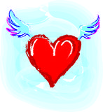 Flying on the wings of love. Artistic illustration stock illustration