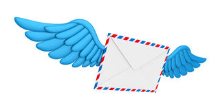 Flying Wings Mail Envelope. Isolated on white background. 3D render Royalty Free Stock Images