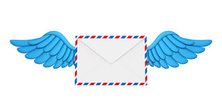 Flying Wings Mail Envelope. Isolated on white background. 3D render Royalty Free Stock Photo