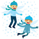 Flying Winter Elves. Happy cute winter elves friends flying with snowflakes background stock illustration