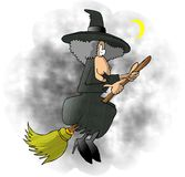 Flying Witch. This illustration that I created depicts a witch in traditional Halloween attire flying on a broom Royalty Free Stock Photography