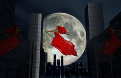 Flying witch. In dark night, 3D rendering Stock Photo